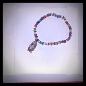 Multicolor beads w/goldtone our lady of Guadalupe
